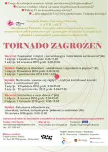 """""""Tornado zagrożeń – świadomy rodzic"""" – edycja jesienna – zapraszamy!"""